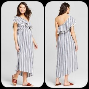 Isabel Maternity One Shoulder Striped Dress